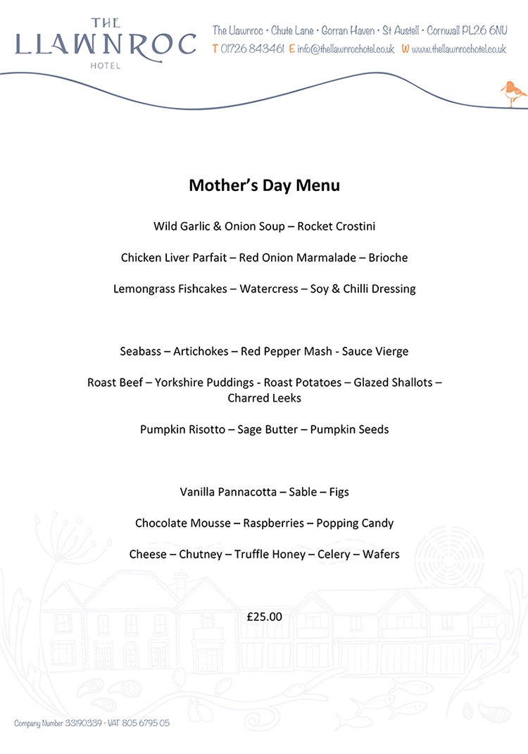 cornwall hotel mothers day menus 2016