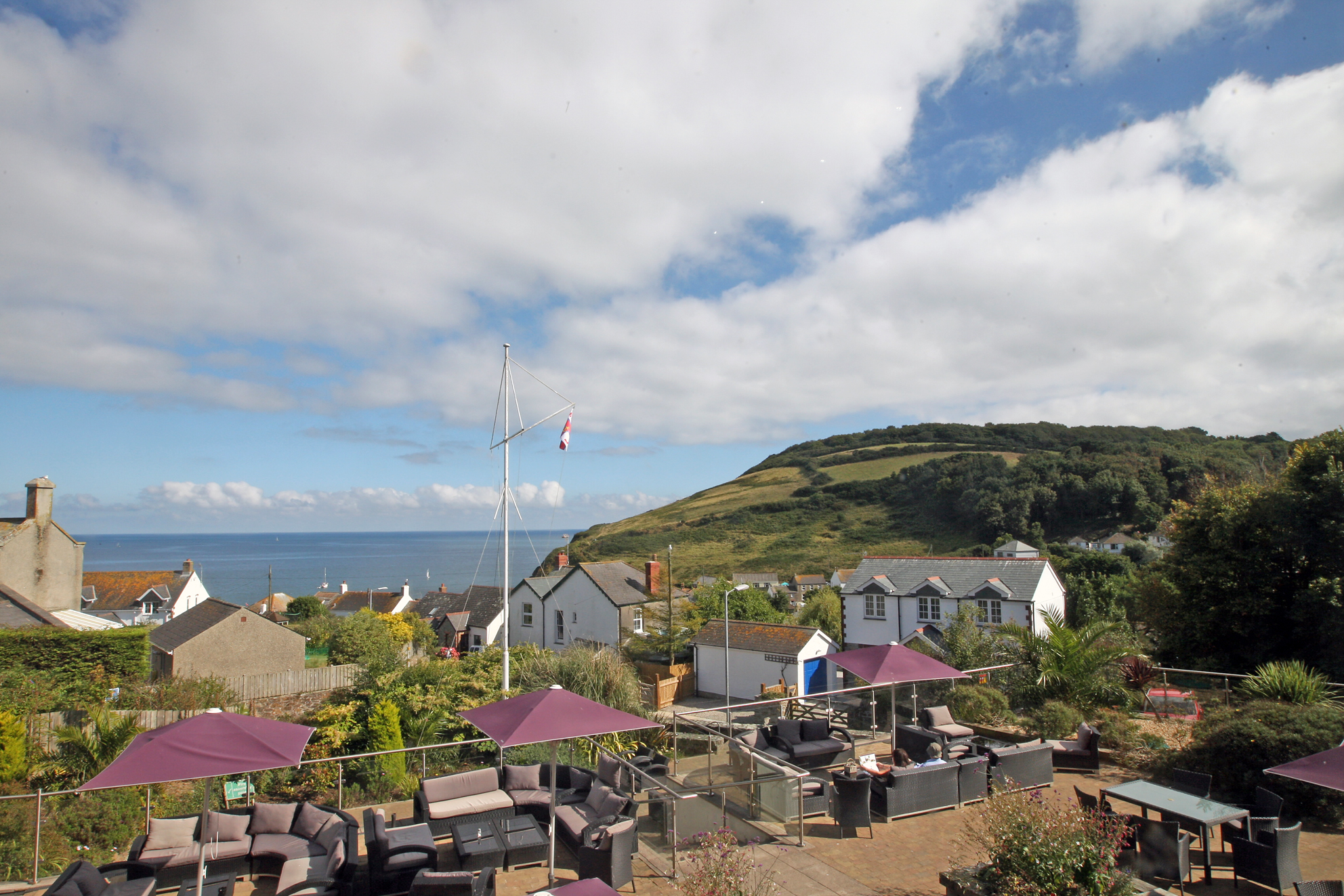 LawnrocRm7d 30/08/2016 The Llawnroc Hotel. Room 7, a double room with sea views over the hotel terrace, to the hilltops that lead to the SouthWest Coastal Path.