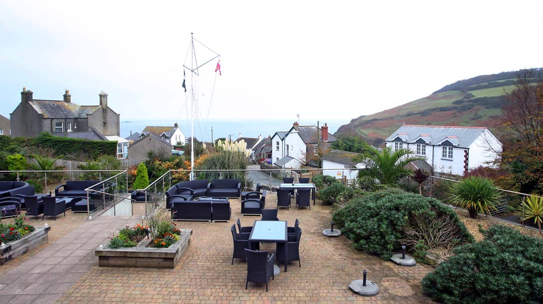 LawnrocRm9d 1/11/2016 The Llawnroc Hotel. Room 9, a double room with sea views over the hotel terrace, to the hilltops that lead to the SouthWest Coastal Path.