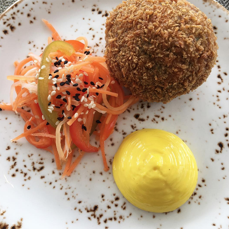 Bacon Scotch Egg, Pickled Vegetables, Curried Mayo